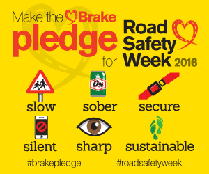 Road safety pledge banner
